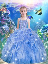 Cheap Floor Length Lace Up Kids Pageant Dress Light Blue for Quinceanera and Wedding Party with Beading and Ruffles