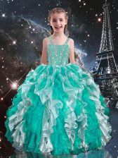 Lovely Floor Length Turquoise Kids Formal Wear Straps Sleeveless Lace Up