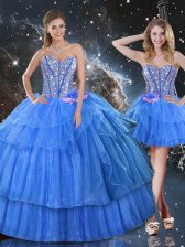 Dazzling Baby Blue Sleeveless Floor Length Ruffled Layers and Sequins Lace Up Ball Gown Prom Dress