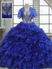 Unique Floor Length Ball Gowns Short Sleeves Royal Blue Vestidos de Quinceanera Lace Up