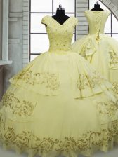 Fine Light Yellow Quinceanera Dresses Military Ball and Sweet 16 and Quinceanera with Beading and Embroidery V-neck Cap Sleeves Brush Train Lace Up
