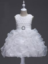 Sleeveless Knee Length Ruffles and Belt Lace Up Little Girls Pageant Gowns with White