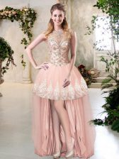 Sleeveless Zipper High Low Beading and Lace and Appliques Evening Dress