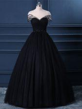 Beading Dress for Prom Black Side Zipper Short Sleeves Floor Length