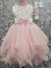Trendy Beading and Hand Made Flower Kids Pageant Dress Baby Pink Backless Sleeveless Asymmetrical