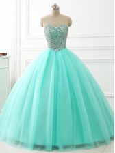 Custom Designed Apple Green Ball Gowns Sweetheart Sleeveless Tulle Floor Length Lace Up Beading Vestidos de Quinceanera