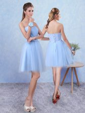 Blue Sweetheart Lace Up Ruching Court Dresses for Sweet 16 Sleeveless
