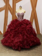 Sweetheart Sleeveless Organza Vestidos de Quinceanera Beading and Ruffles Brush Train Lace Up