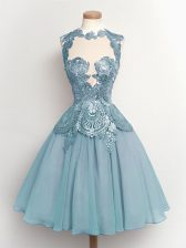 Fabulous Sleeveless Lace Up Knee Length Lace Quinceanera Court Dresses