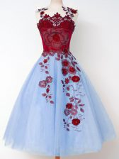 Ideal Knee Length A-line Sleeveless Blue Court Dresses for Sweet 16 Lace Up