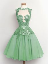 Sleeveless Knee Length Lace Lace Up Damas Dress with Apple Green