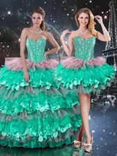 Floor Length Multi-color Sweet 16 Quinceanera Dress Organza Sleeveless Beading and Ruffles and Ruffled Layers