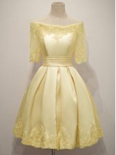 Comfortable Yellow Damas Dress Prom and Party and Wedding Party with Lace Off The Shoulder Half Sleeves Lace Up