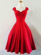 Red Sleeveless Ruching Mini Length Dama Dress