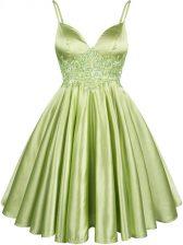 Spaghetti Straps Sleeveless Lace Up Dama Dress Yellow Green Elastic Woven Satin