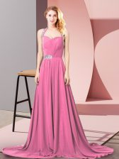Ideal Empire Sleeveless Pink Evening Dress Brush Train Zipper