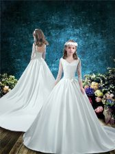 Adorable V-neck 3 4 Length Sleeve Flower Girl Dresses for Less Court Train Lace and Bowknot White Taffeta