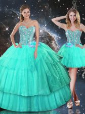 Sweetheart Sleeveless Organza Sweet 16 Dresses Ruffled Layers and Sequins Lace Up