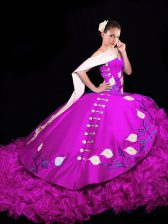 Fuchsia Ball Gown Prom Dress V-neck Sleeveless Brush Train Lace Up