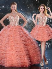 Watermelon Red Lace Up Quince Ball Gowns Beading and Ruffled Layers Sleeveless Floor Length