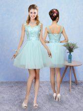 Cute Straps Sleeveless Lace Up Vestidos de Damas Aqua Blue Tulle