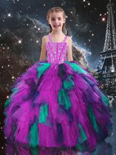 Customized Fuchsia Sleeveless Floor Length Beading and Ruffles Lace Up Girls Pageant Dresses