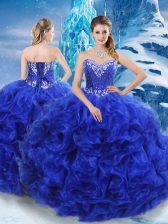 Stunning Royal Blue Sweetheart Neckline Beading 15th Birthday Dress Sleeveless Lace Up