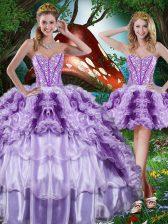 Custom Fit Sweetheart Sleeveless 15th Birthday Dress Floor Length Beading and Ruffles and Ruffled Layers Multi-color Organza