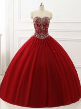 Beautiful Wine Red Lace Up Sweetheart Beading 15 Quinceanera Dress Tulle Sleeveless