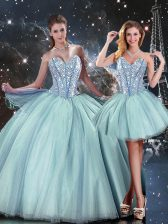 Spectacular Tulle Sleeveless Floor Length Quince Ball Gowns and Beading