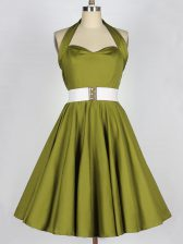 A-line Dama Dress Olive Green Halter Top Taffeta Sleeveless Knee Length Lace Up