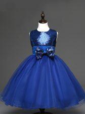Eye-catching Sleeveless Zipper Tea Length Sequins and Bowknot Little Girl Pageant Dress