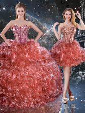 New Arrival Rust Red Three Pieces Organza Sweetheart Sleeveless Beading and Ruffles Floor Length Lace Up Quinceanera Gowns