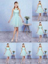 Fabulous Aqua Blue Halter Top Neckline Appliques Damas Dress Cap Sleeves Lace Up