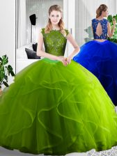 Great Olive Green Two Pieces Lace and Ruffles Quince Ball Gowns Zipper Tulle Sleeveless Floor Length