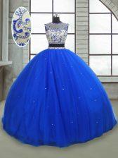 Custom Designed Royal Blue Lace Up Scoop Beading Sweet 16 Dress Tulle Sleeveless