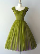 Olive Green A-line V-neck Cap Sleeves Chiffon Knee Length Lace Up Ruching Court Dresses for Sweet 16