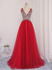 Modest Backless Homecoming Dress Red for Prom and Party and Military Ball with Beading Brush Train