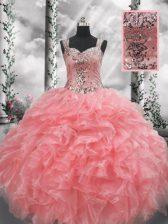Fashionable Floor Length Ball Gowns Sleeveless Watermelon Red Sweet 16 Dress Zipper
