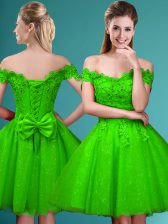 A-line Lace and Belt Quinceanera Court Dresses Lace Up Tulle Cap Sleeves Knee Length