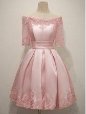 Adorable Knee Length Pink Dama Dress Taffeta Half Sleeves Lace