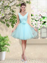 V-neck Sleeveless Tulle Quinceanera Court Dresses Lace and Belt Lace Up