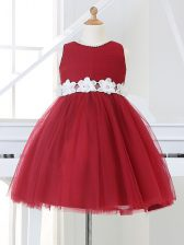 Hot Sale Scoop Sleeveless Zipper Child Pageant Dress Wine Red Tulle