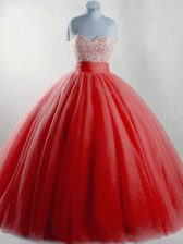 Custom Design Sleeveless Lace Up Floor Length Beading Quinceanera Gowns