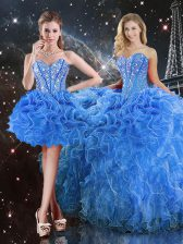 Superior Baby Blue Sweetheart Neckline Beading and Ruffles Quince Ball Gowns Sleeveless Lace Up