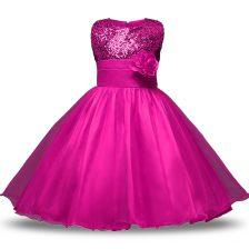 Lovely Knee Length Ball Gowns Sleeveless Fuchsia Toddler Flower Girl Dress Zipper