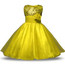 Yellow Zipper Scoop Bowknot and Belt and Hand Made Flower Flower Girl Dresses Organza and Sequined Sleeveless