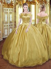 Graceful Tulle Sleeveless Floor Length Quinceanera Dress and Beading and Appliques and Hand Made Flower