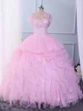 Affordable Pink Lace Up Ball Gown Prom Dress Beading and Ruffles Sleeveless Floor Length