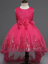 Hot Pink Sleeveless Lace and Appliques and Bowknot and Hand Made Flower High Low Little Girls Pageant Dress Wholesale